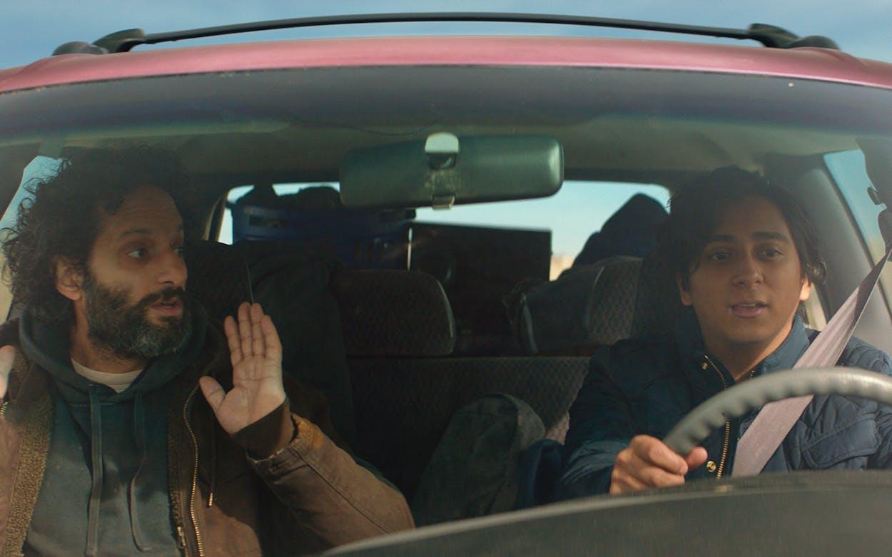 Tony Revolori and Jason Mantzoukas in 'The Long Dumb Road.'