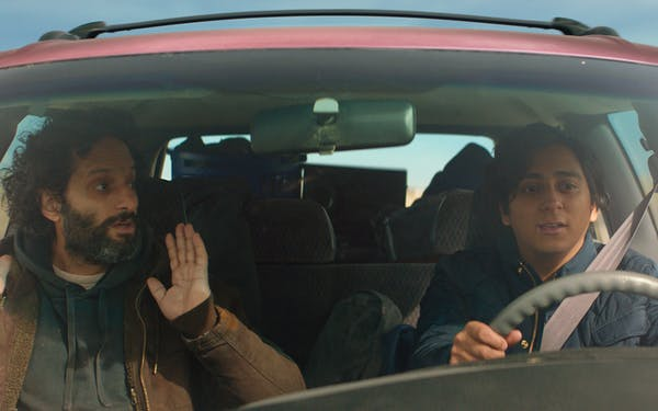 Tony Revolori and Jason Mantzoukas in 'The Long Dumb Road.'