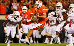 The Longhorns in their game against Oklahoma State