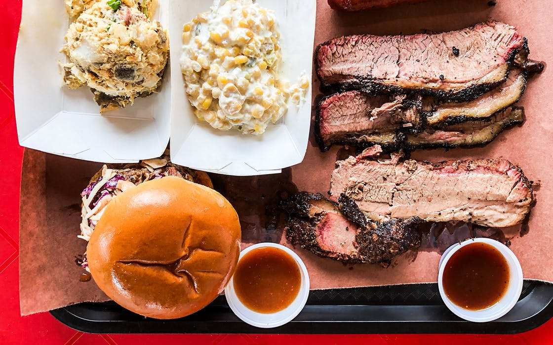Brisket sides and a Pig Apple sandwich at Brendyn's BBQ in Nacogdoches