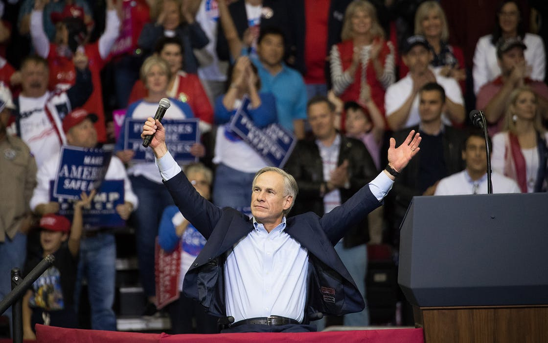 Governor Greg Abbott of Texas addresses the crowd before President Donald Trump took the stage for a rally in support of Sen. Ted Cruz (R-TX) on October 22, 2018 at the Toyota Center in Houston.