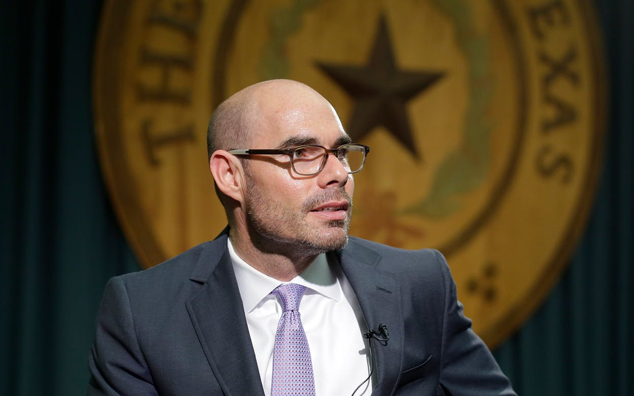 Texas Rep. Dennis Bonnen, R-Angleton, talks to the media at the Texas Capitol, Tuesday, May 12, 2015, in Austin.