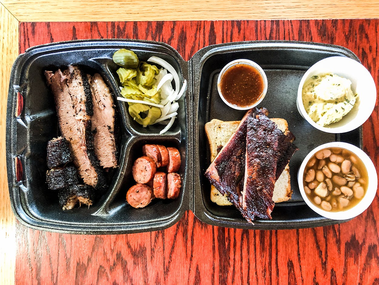 container of food at BBQ on the Brazos