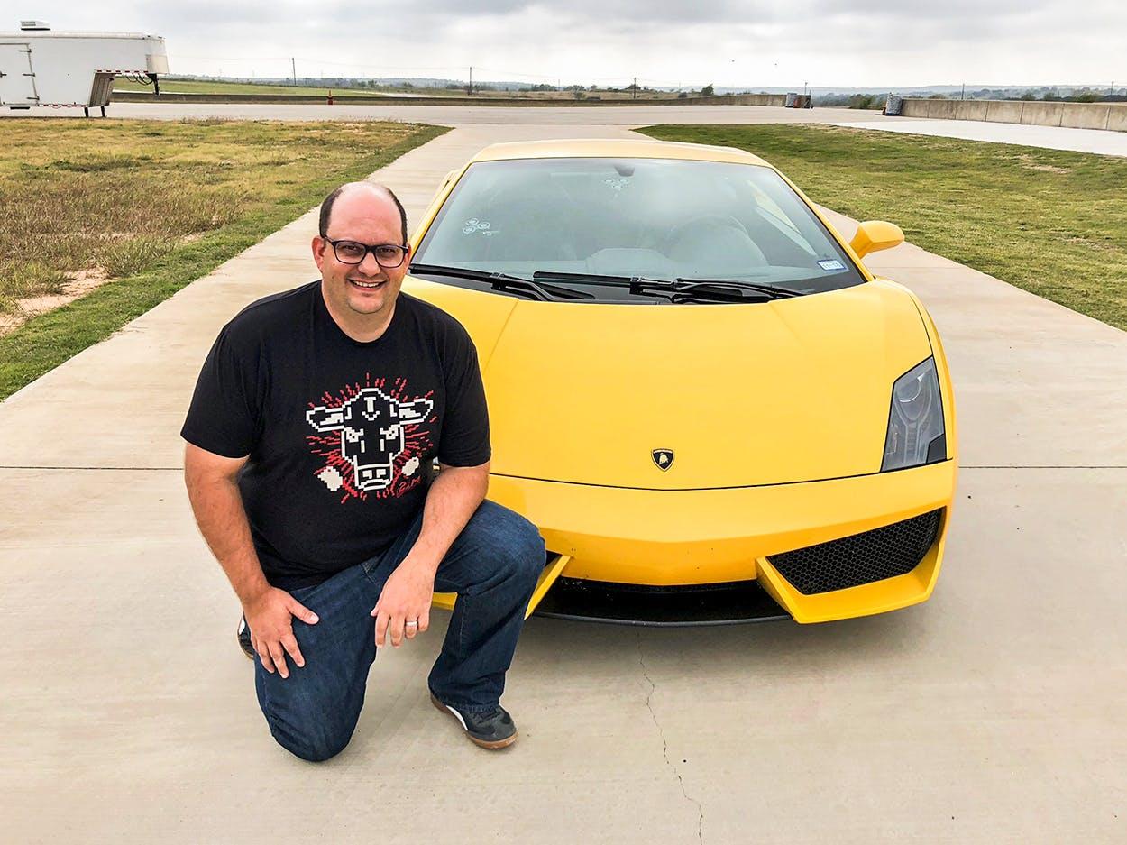 Barbecue Editor Daniel Vaughn with a Lamborghini