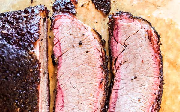 A brisket cross-section after hitting the griddle
