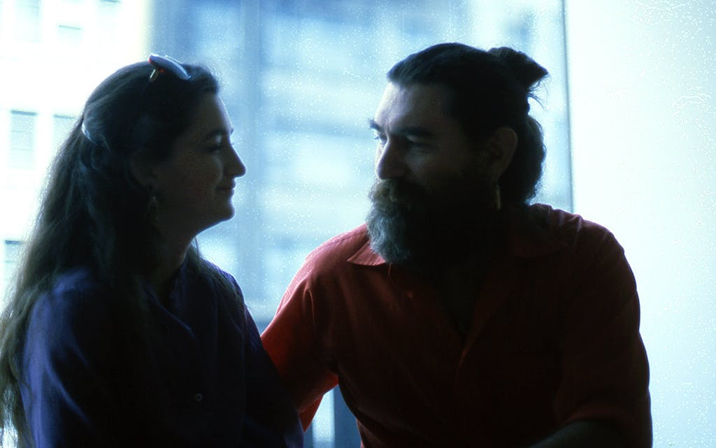 Charmaine Locke (left) and James Surls (right) at Allan Frumkin Gallery in New York City in 1982.