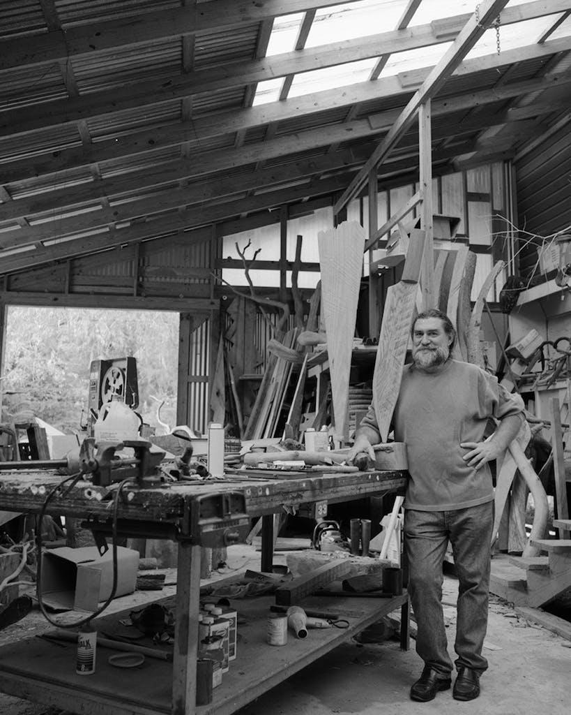 Surls in the back of his studio in Splendora in 1995.