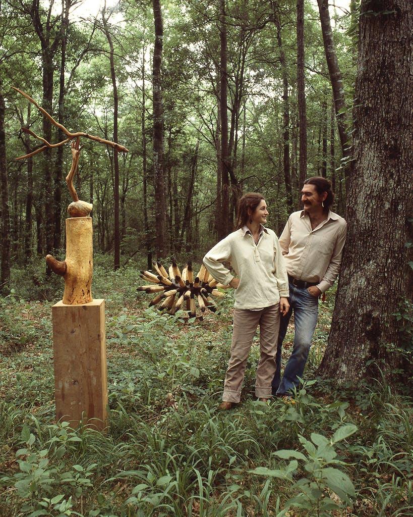 Charmaine Locke and James Surls on Locke and Surls land in Splendora in 1978.