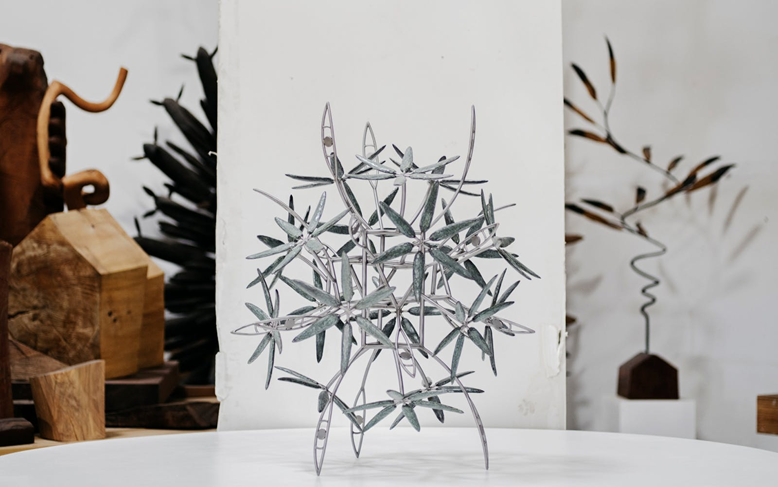 """A small-scale version of the """"This Place, Everywhere"""" sculpture, which was a commission for The Dallas Holocaust Museum/Center for Education and Tolerance, in Surls's Colorado studio on July 20, 2018."""