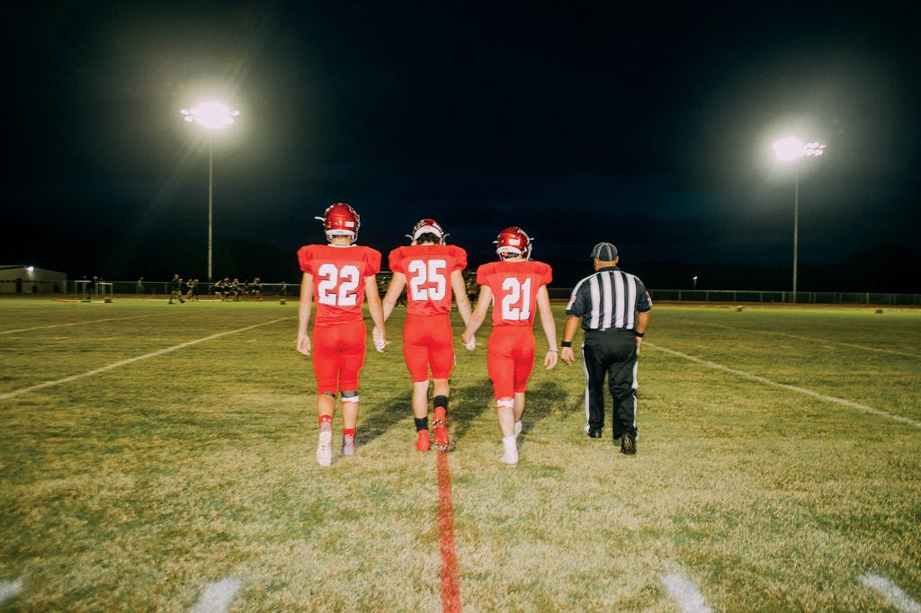 Leakey Eagles team captains walk out for the coin toss.