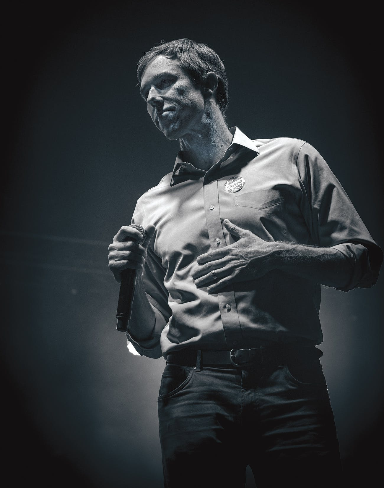 O'Rourke giving his concession speech at Southwest University Park, in El Paso, on November 6, 2018.