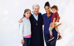 Sister Norma with Zuleyka, Lucrecia, and Camilo Lopez, Guatemala.