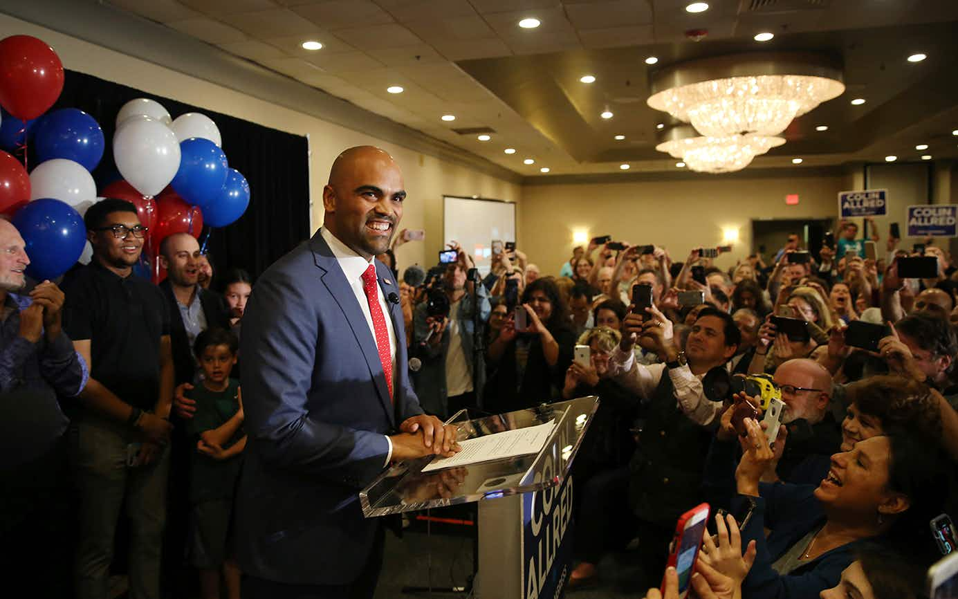 Democratic congressional candidate Colin Allred speaks to supporters during an election night party in Dallas, Tuesday, Nov. 6, 2018.