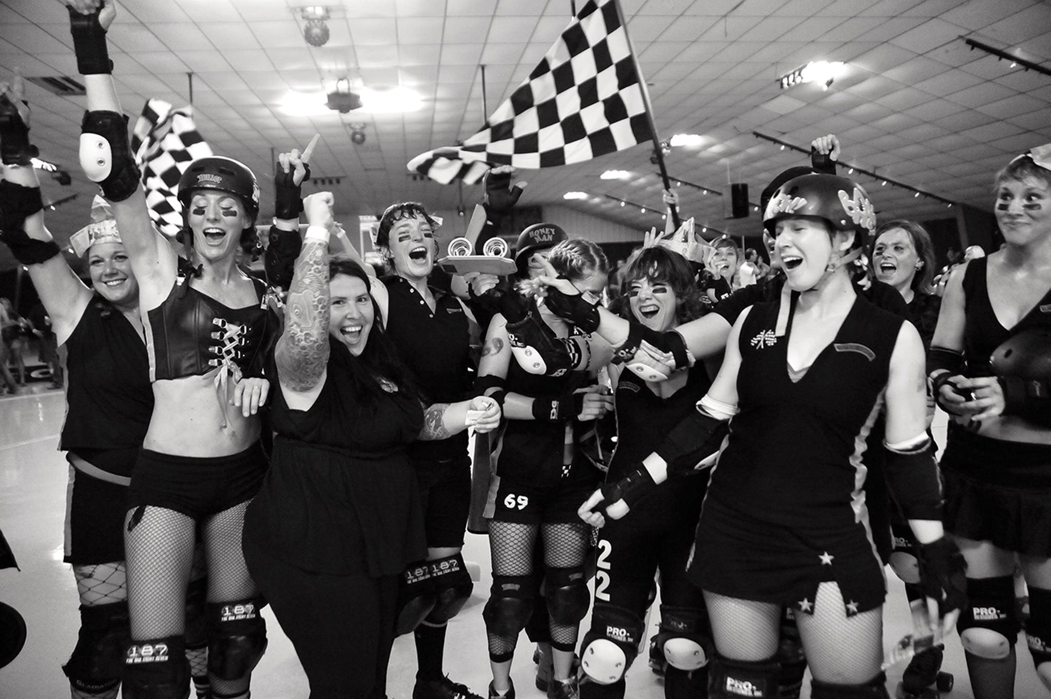 Texas Rollergirls team the Hot Rods celebrate after winning the 2009 Austin championship