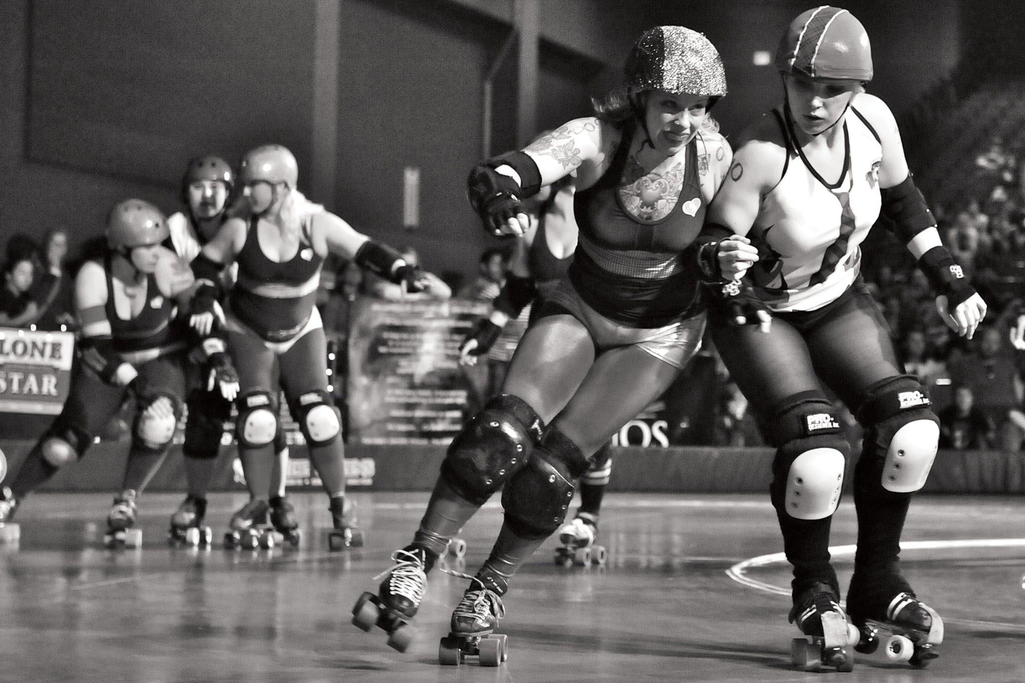 Hot Box face off against Notorious D.I.E., another team in the Texas Rollergirls league, in Austin in 2011.