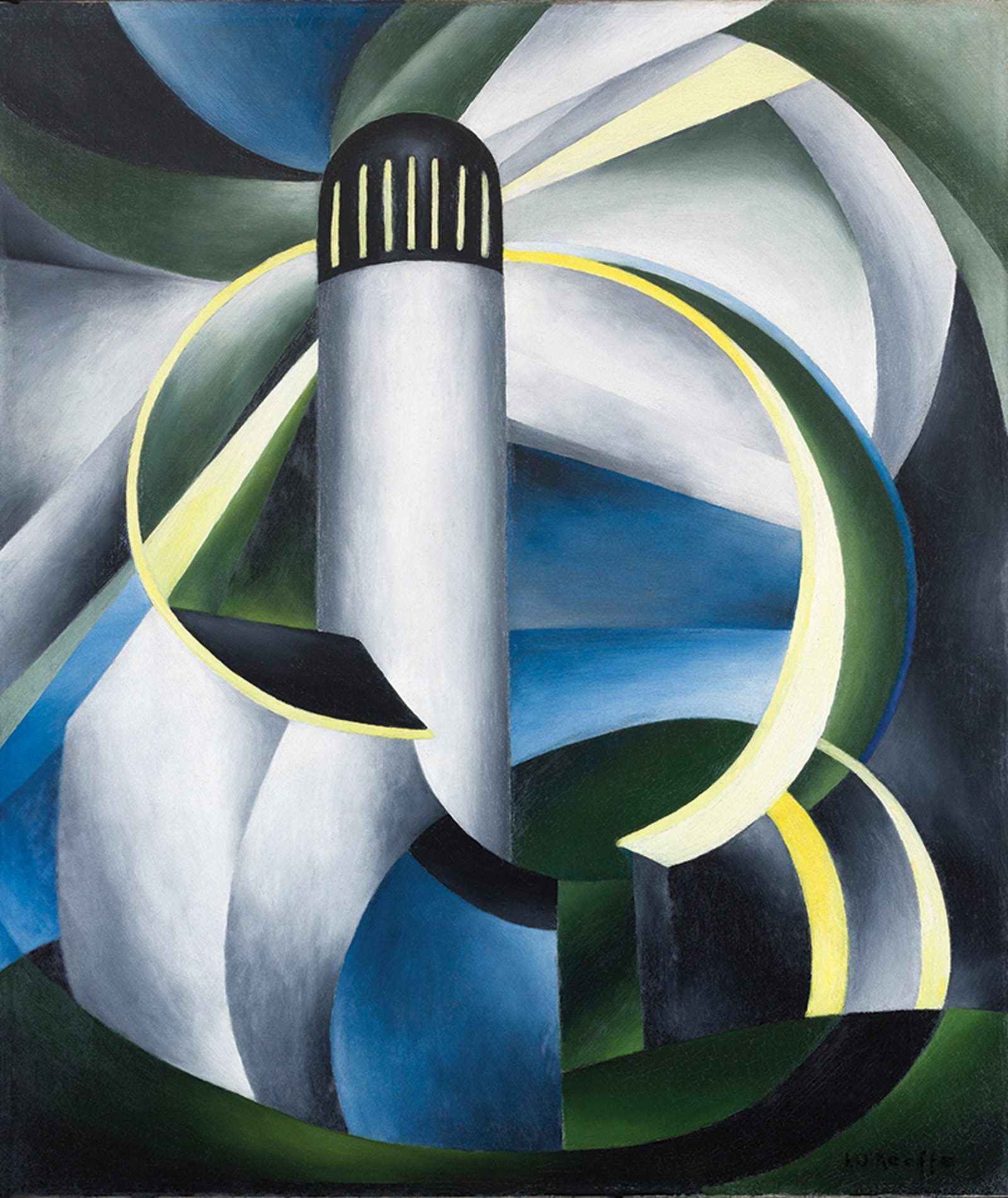 'Variation on a Lighthouse Theme IV,' an abstract painting of a lighthouse by Ida O'Keeffe.