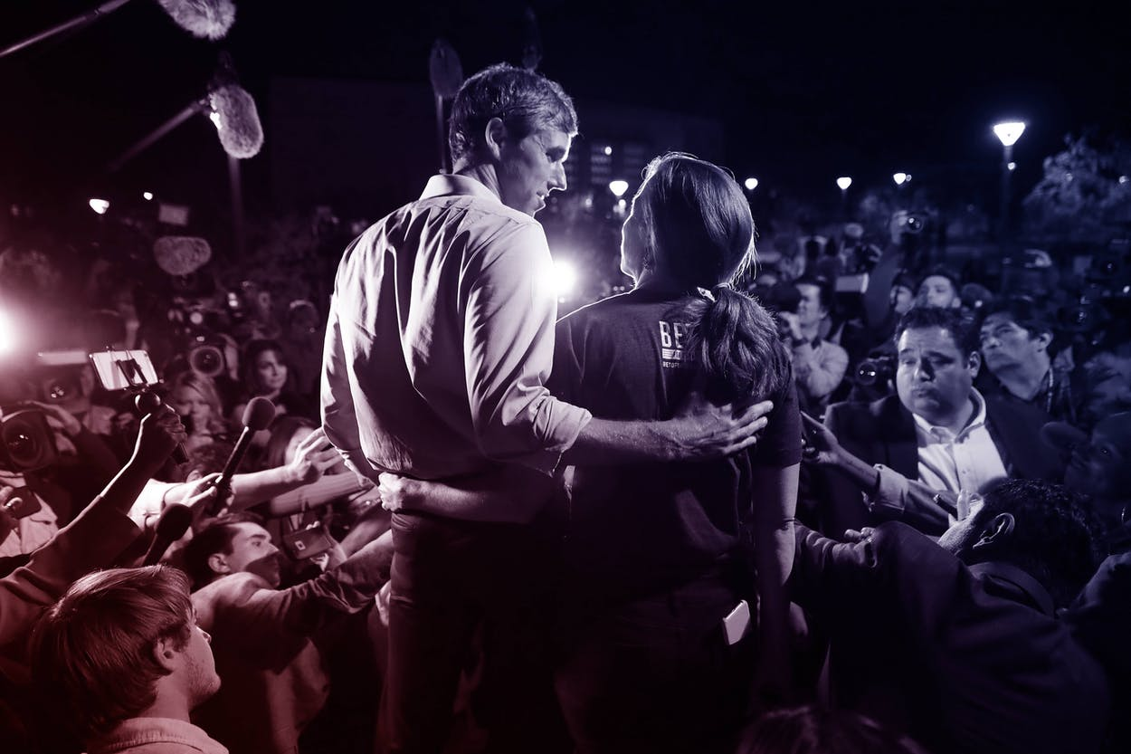 Beto O'Rourke and his wife Amy Sanders talk to journalists before a rally in the Magoffin Auditorium on the campus of the University of Texas El Paso on November 05, 2018 in El Paso, Texas.