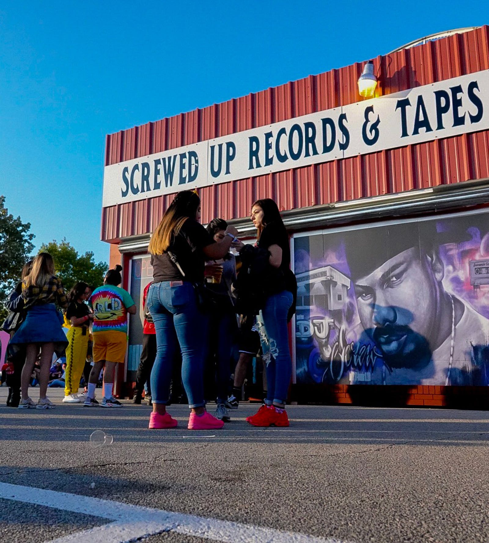 A Screwed Up Records & Tapes storefront at Astroworld