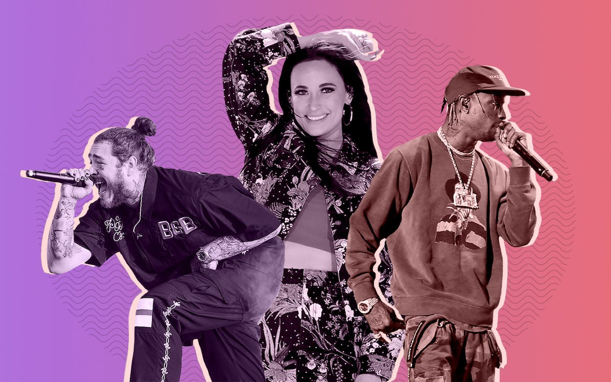 Texas artists Post Malone, Kacey Musgraves, and Travis Scott
