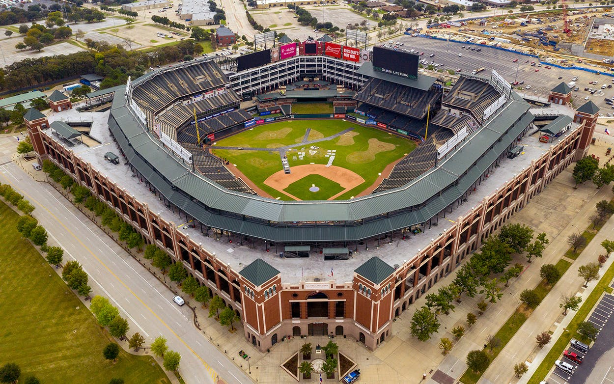 A overall general aerial view of Globe Life Park in Arlington, home of the Texas Rangers since 1994.