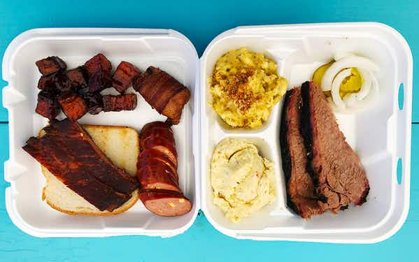 The spread at Jay's BBQ Shack in Abilene
