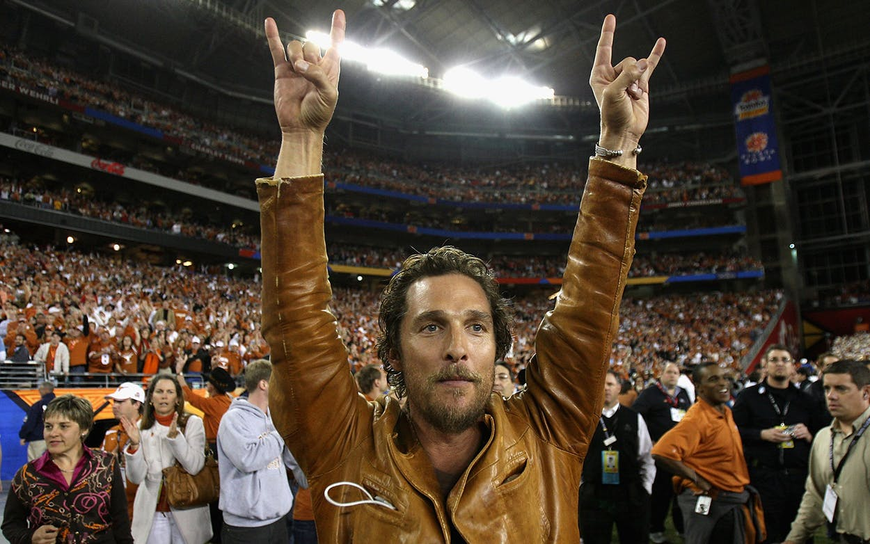 Actor Matthew McConaughey celebrates after the Texas Longhorns defeated the Ohio State Buckeyes on January 5, 2009 in Glendale, Arizona.