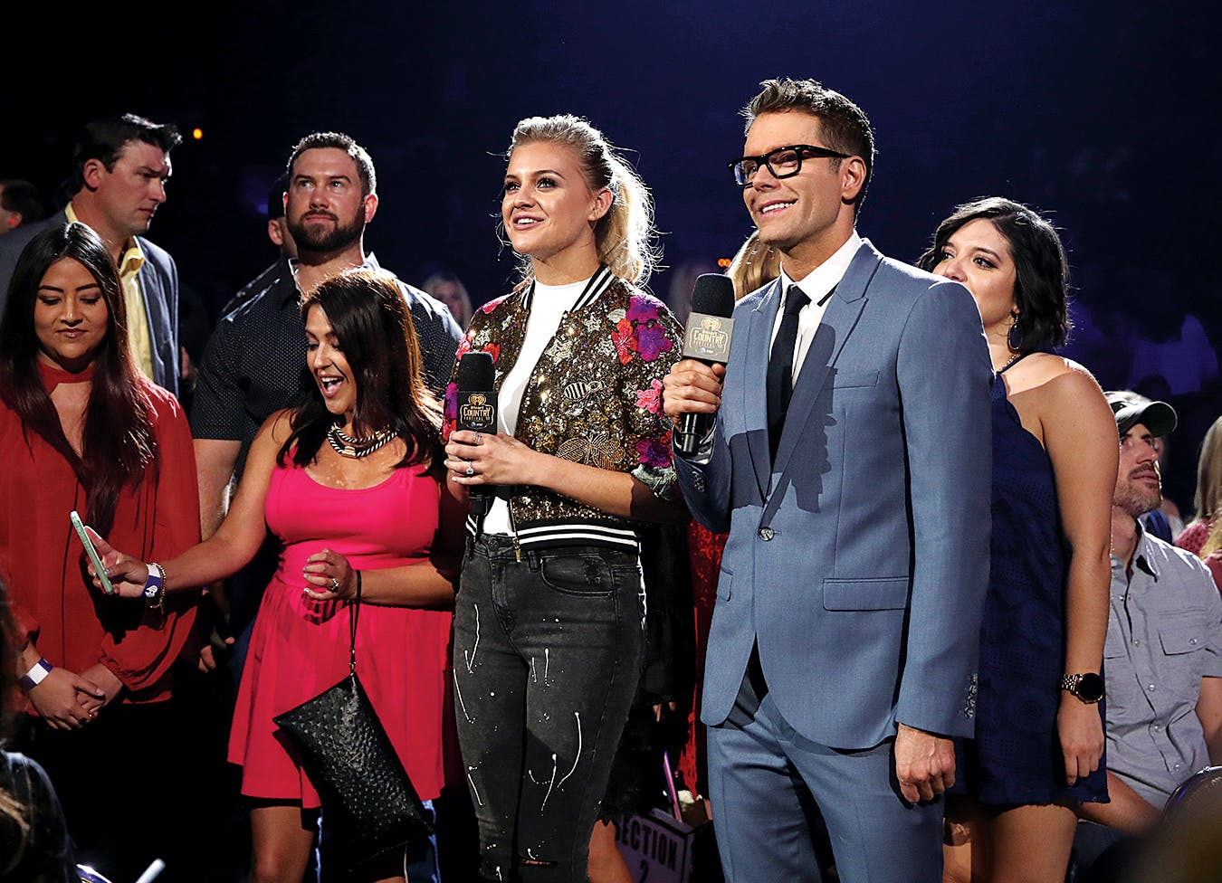 Bones and singer Kelsea Ballerini performing at the 2017 iHeartCountry Festival in Austin.