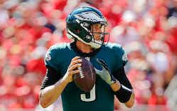Nick Foles #9 of the Philadelphia Eagles looks to pass against the Tampa Bay Buccaneers