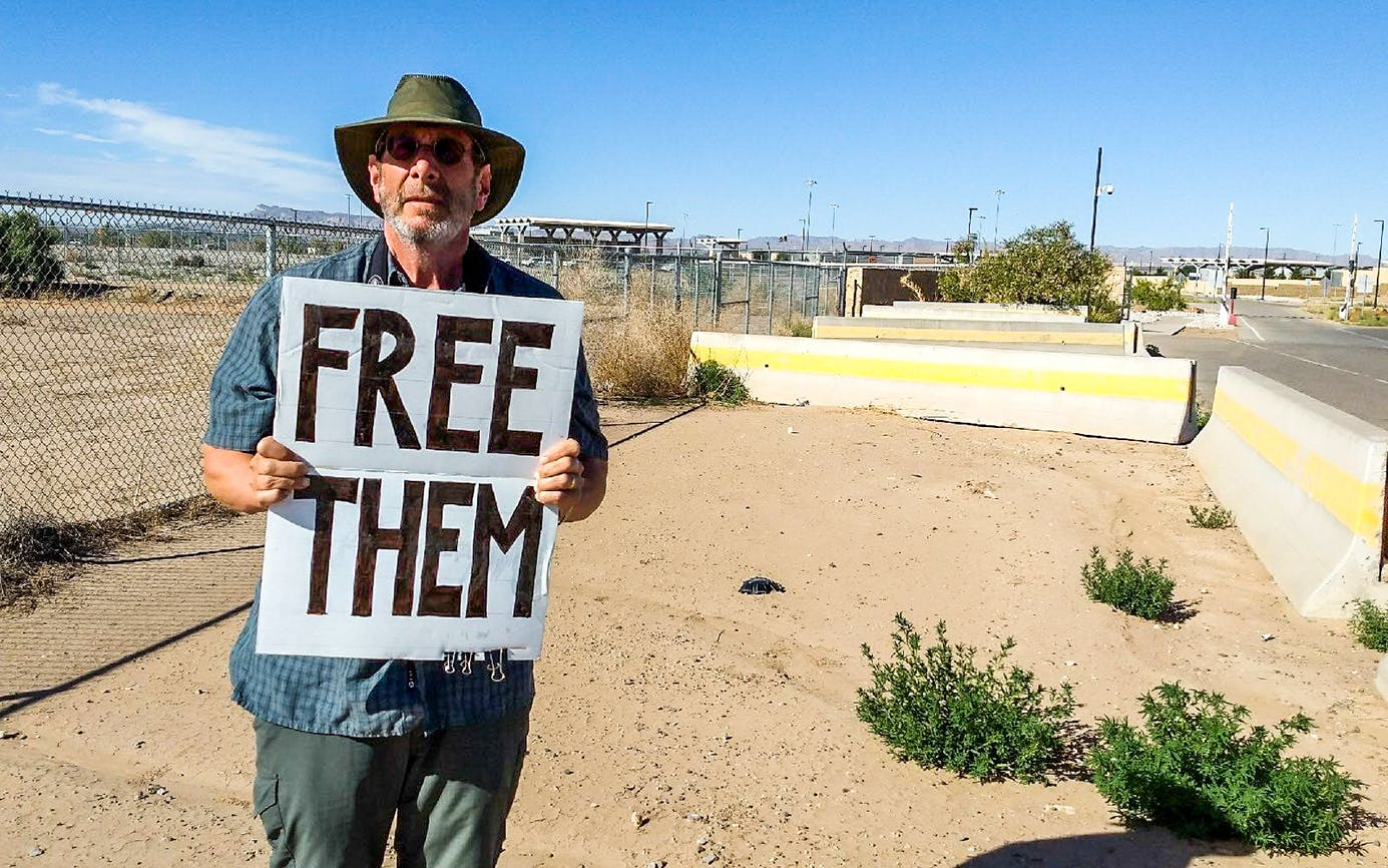 Software developer and protestor Joshua Rubin has camped outside the tent facility in Tornillo since early October.