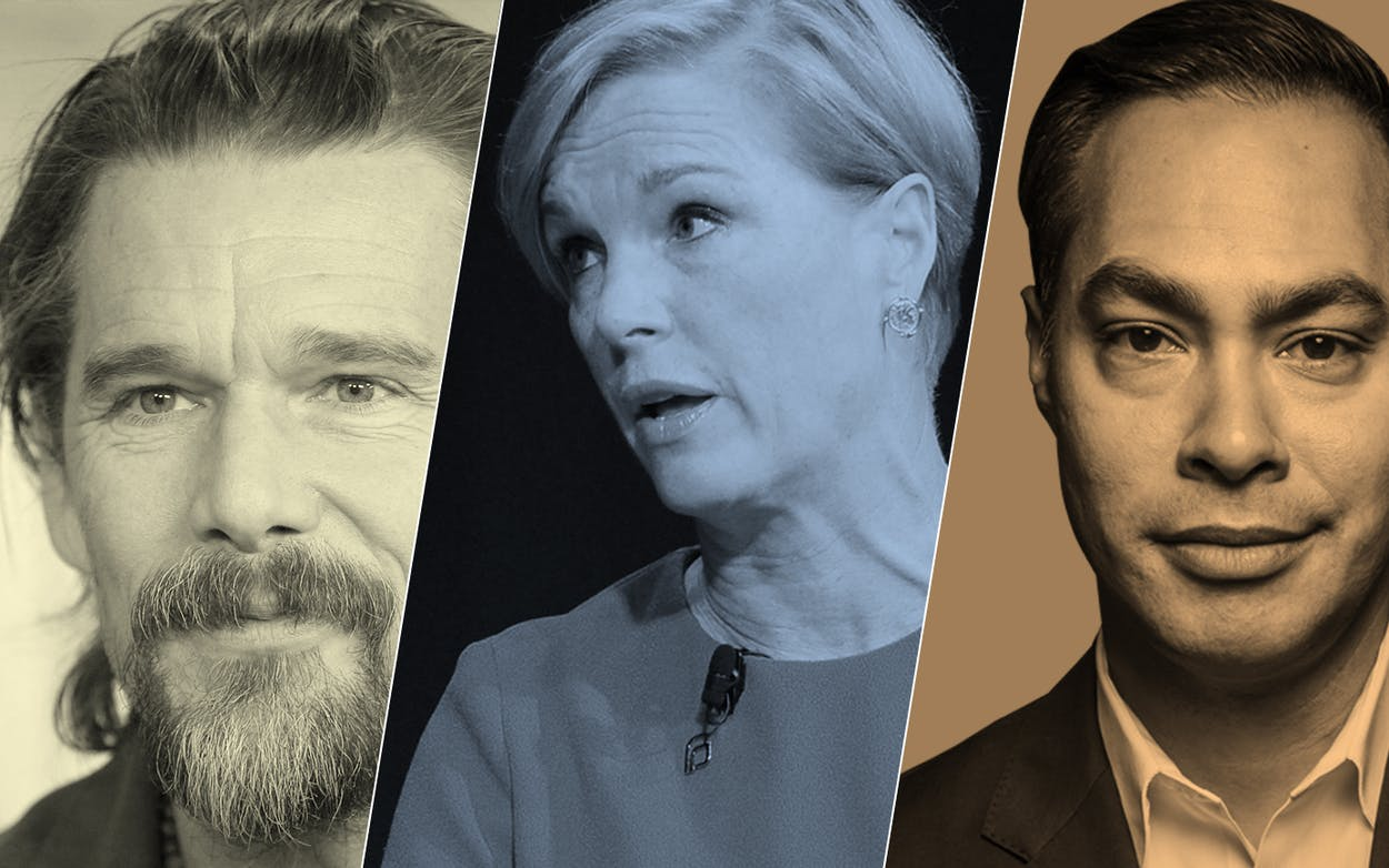 Ethan Hawke, Cecile Richards, and Julián Castro, all guests on the 'National Podcast of Texas' in 2018.
