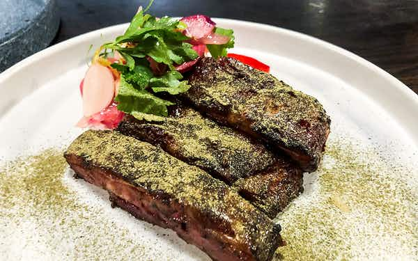 A trio of aged pork ribs with garden dry rub at The Brewer's Table