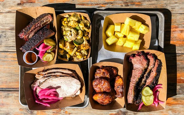 Spicy pickled pineapple stands out on this barbecue platter from Whitfield's