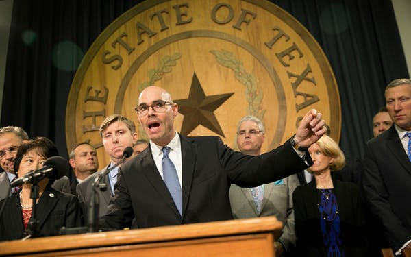 State Rep. Dennis Bonnen, R-Angleton, speaks about border security at a news conference at the Capitol in Austin on Wednesday Jan. 11, 2017.
