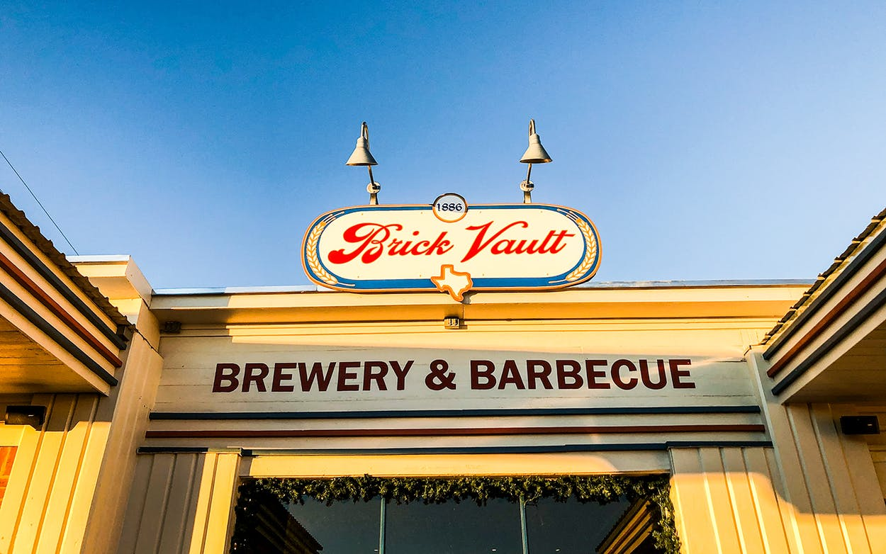 Brick Vault Brewery & Barbecue reflecting the West Texas sunset in Marathon