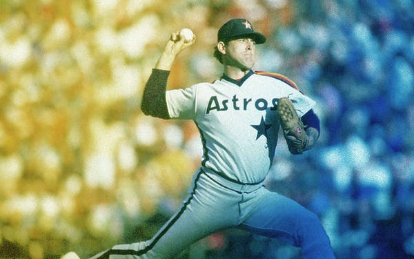 Nolan Ryan of the Houston Astros pitches during a game in the 1986 season.
