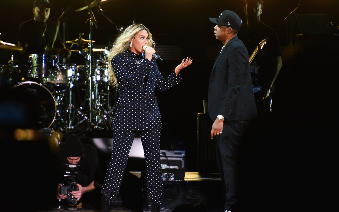 Beyonce and and Jay Z perform on stage during a Get Out The Vote concert at Wolstein Center on November 4, 2016 in Cleveland, Ohio.