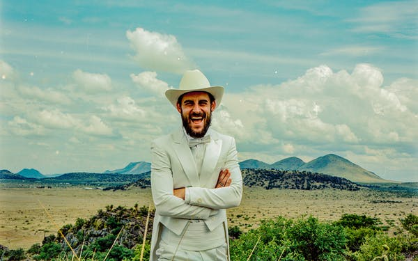 Songwriter Robert Ellis outside of Marfa
