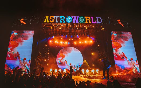 Travis Scott performing at Astroworld Festival in Houston on November 17th, 2018.
