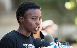 Therese Patricia Okoumou speaks to reporters outside Federal Court on July 5, 2018 in New York.