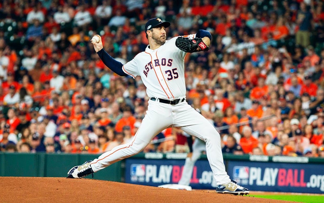 Houston Astros starting pitcher Justin Verlander delivers the pitch in the first inning of game 1 of the ALDS between the Houston Astros and the Cleveland Indians at Minute Maid Park in Houston on October 5, 2018.