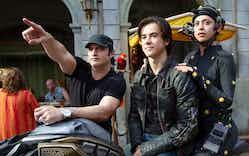 Director Robert Rodriguez, Keean Johnson, and Rosa Salazar on the set of Twentieth Century Fox's 'Alita: Battle Angel.'