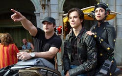 Director Robert Rodriguez, Keean Johnson, and Rosa Salazar on the set of Twentieth Century Fox's 'Alita: Battle Angel.'