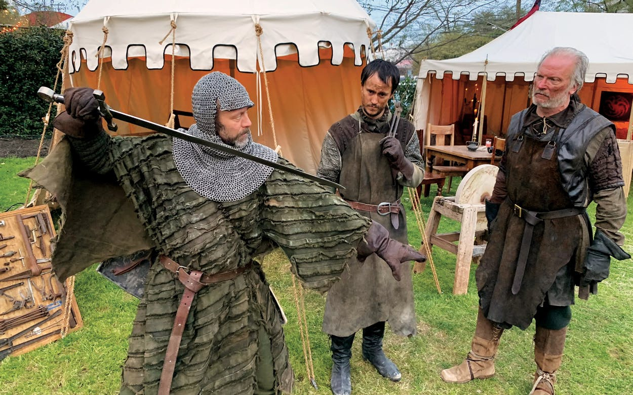 "Stark bannermen show off their swordsmanship at HBO's ""Bleed for the Throne."