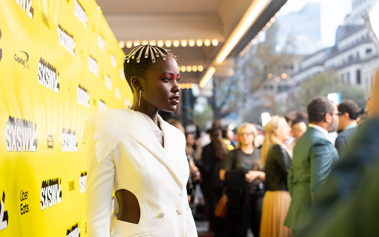 Lupita Nyong'o attends the 'Us' premiere at the Paramount Theater on March 8, 2019.