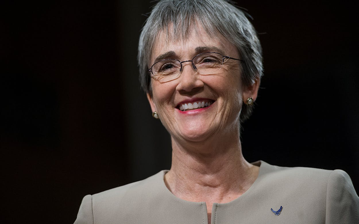 Secretary of the Air Force Heather Wilson prepares for a Senate Armed Services Committee hearing in Washington, DC on June 6, 2017.