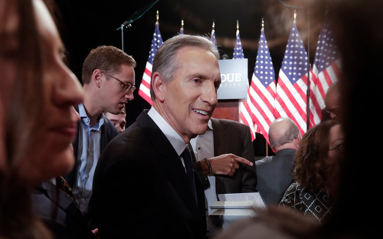 Former Starbucks CEO Howard Schultz greets students after speaking at Purdue University in West Lafayette, Ind., Thursday, Feb. 7, 2019.
