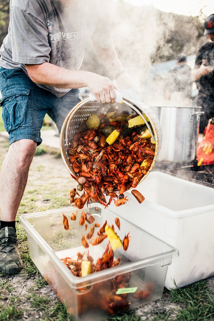 The 80 lb. crawfish boil was stocked with sausage, artichokes, mushrooms, potatoes and corn, and flavored with ginger, lemongrass, garlic, thai basil, fish sauce and butter.