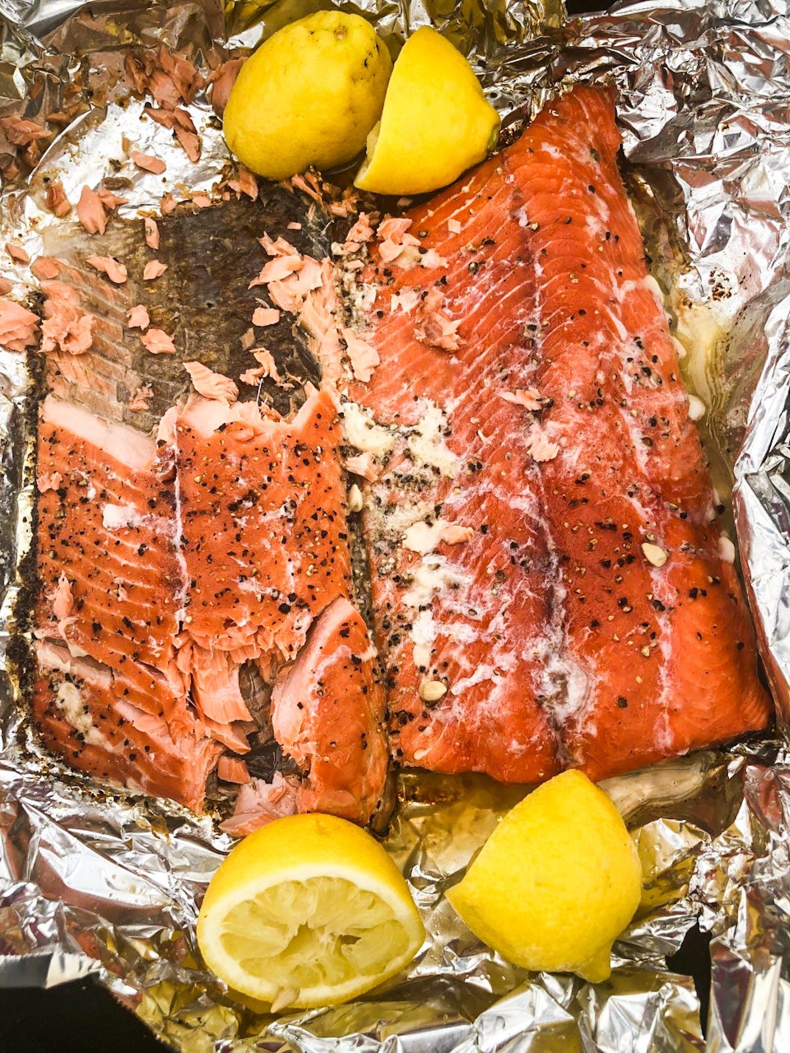 Grilled Alaskan king salmon with lemon.