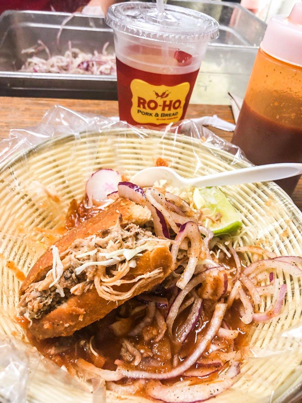 The torta ahogada at Ro-Ho Pork & Bread in San Antonio.