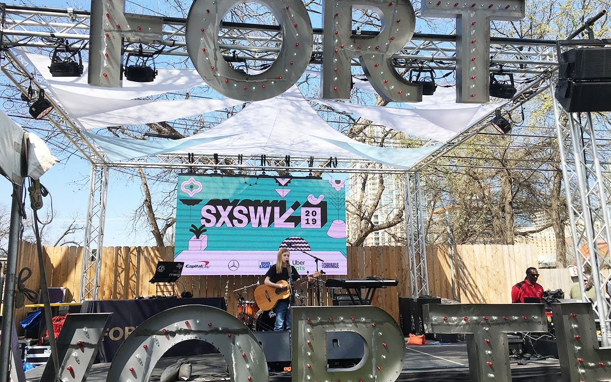 Eleven-year-old Fort Worth singer and songwriter Jack Barksdale performing at Fort Worth's SXSW stage on Rainey Street